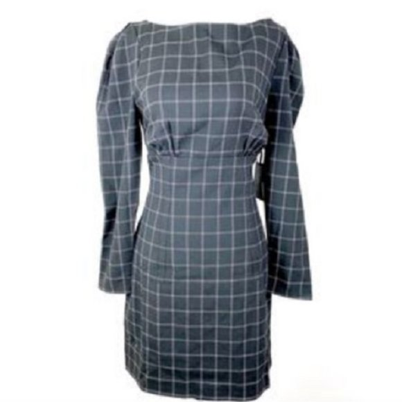 h:ours Dresses & Skirts - H:ours Revolve Black Windowpane Grid Fitted Dress